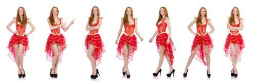 De vrouw in het concept van de manierkleding Stock Afbeelding