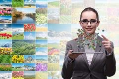 De vrouw in het concept van de wereldreis Royalty-vrije Stock Afbeelding