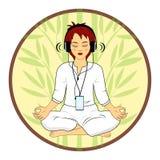 De vrouw in het mediteren stelt Royalty-vrije Stock Fotografie