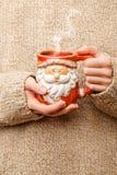 De vrouw houdt dichte omhooggaand van de de winterkop Het houden van een comfortabele mok De winter en Kerstmistijd royalty-vrije stock fotografie