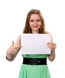De vrouw houdt een banner Stock Foto's