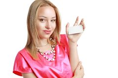 De vrouw houdt kaart Royalty-vrije Stock Fotografie