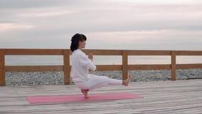 De vrouw houdt saldozitting op één voet en holdingslichaam, yogaklasse stock footage