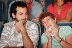 De vrouw huilt in Theater Stock Foto's