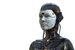 De Vrouw Humanoid van robotandroid - die op witte achtergrond wordt ge?soleerd royalty-vrije illustratie
