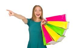 De vrouw in Kerstmis het winkelen concept op wit Royalty-vrije Stock Foto's