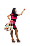 De vrouw in Kerstmis het winkelen concept op wit Stock Afbeelding