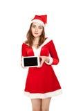 De vrouw kleedde rode PC van de kostuum een gat makende in tablet Stock Afbeeldingen