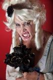 De vrouw kleedde zich als enge Marie Antoinette Royalty-vrije Stock Afbeeldingen