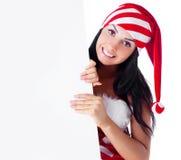 De vrouw kleedde zich als Kerstman Royalty-vrije Stock Afbeelding