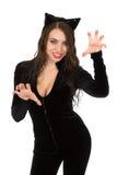 De vrouw kleedde zich in catsuit stock afbeeldingen