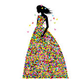 De vrouw kleedde zich in de lentebloemen en vlinders Stock Foto's