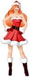 De vrouw kleedde zich in de Sexy Kleren van de Kerstman voor Kerstmis Stock Afbeelding