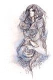 De vrouw kleedde zich in rozenbloemen Royalty-vrije Stock Afbeelding