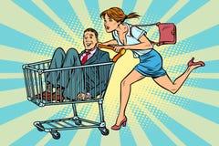 De vrouw kocht een bruidegom, de verkoop van het boodschappenwagentjekarretje vector illustratie