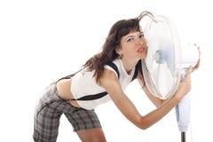 De vrouw koestert de ventilator Royalty-vrije Stock Fotografie