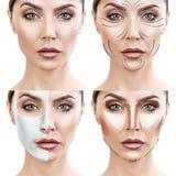 De vrouw maakt stap voor stap huid geven procedures Stock Afbeeldingen