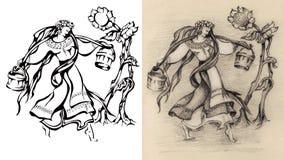 De vrouw, meisje draagt water Bloem wijnoogst retro Stock Afbeeldingen