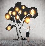 De vrouw met dient de lucht en de glanzende dollarboom in Royalty-vrije Stock Foto's