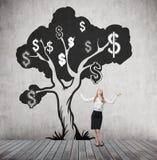De vrouw met dient de lucht en dollarboom in Royalty-vrije Stock Fotografie