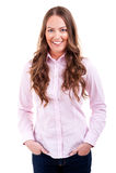 De vrouw met dient zakken grote glimlach in Stock Fotografie
