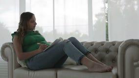 De vrouw met een grote buik schrijft in een agendazitting op de bank dichtbij het grote venster stock video