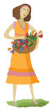 De vrouw met een mand van multi-colored bloemen Royalty-vrije Stock Foto