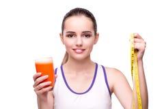 De vrouw met glas van sap en drank Stock Fotografie
