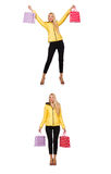 De vrouw met het winkelen zakken op wit wordt geïsoleerd dat Stock Foto