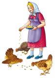 De vrouw met kippen Royalty-vrije Stock Foto