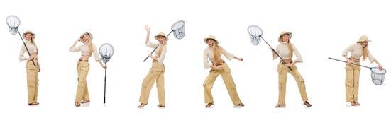De vrouw met vangen netto op wit Royalty-vrije Stock Foto's
