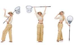 De vrouw met vangen netto op wit Stock Foto's
