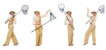 De vrouw met vangen netto op wit Royalty-vrije Stock Fotografie