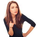 De vrouw met verdacht toont op u vinger royalty-vrije stock afbeelding