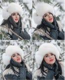 De vrouw met wit bont GLB en het vest die van het de winterlandschap genieten dichtbij een ijzer schermen Het aantrekkelijke lang royalty-vrije stock foto's