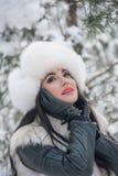 De vrouw met wit bont GLB en het vest die van het de winterlandschap genieten dichtbij een ijzer schermen Het aantrekkelijke lang stock fotografie