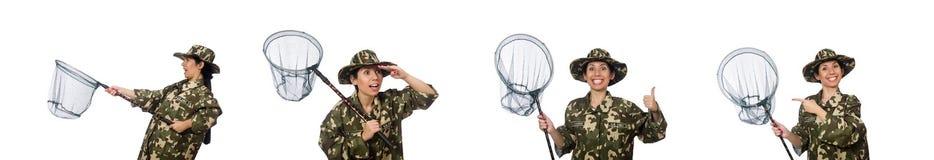 De vrouw in militaire kleding met netto vangen royalty-vrije stock foto