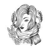De vrouw nam het ontwerp van de bloemdecoratie toe vector illustratie