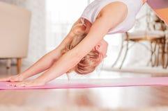 De vrouw oefent yoga uit, zich bevindt bij Naar beneden toegekeerde hond stel thuis royalty-vrije stock foto's