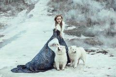 De vrouw op de wintergang met een hond Royalty-vrije Stock Fotografie