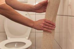 De vrouw op het toilet scheurt toiletpapier van broodje royalty-vrije stock afbeelding