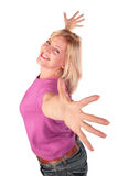 De vrouw op middelbare leeftijd bevindt zich dansende 2 Royalty-vrije Stock Foto's