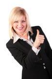 De vrouw op middelbare leeftijd geeft gebaar o.k. 2 Stock Foto
