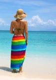 De vrouw op zeekust Stock Afbeelding