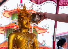 De vrouw overhandigt het baden Boedha beeld in Songkran-festival stock afbeeldingen