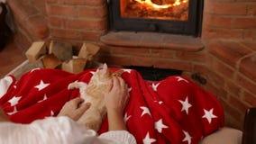 De vrouw overhandigt huisdier leuk oranje katje bij de open haard stock footage
