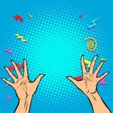 De vrouw overhandigt vingers hoog vijf vector illustratie