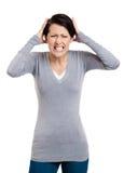 De vrouw is in paniek Royalty-vrije Stock Foto