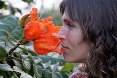 De vrouw raakt rode bloemen Royalty-vrije Stock Afbeeldingen