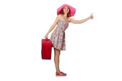 De vrouw in reizend concept op wit Royalty-vrije Stock Afbeeldingen